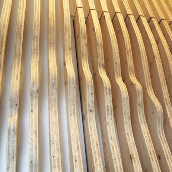 Détails des tasseaux formant un relief